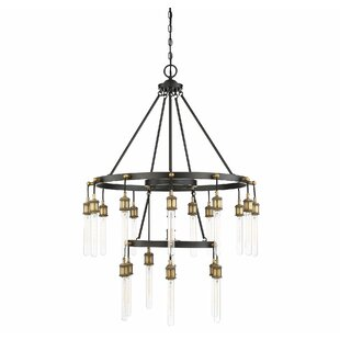 Gracie Oaks Wuest 21-Light LED Wagon Wheel Chandelier