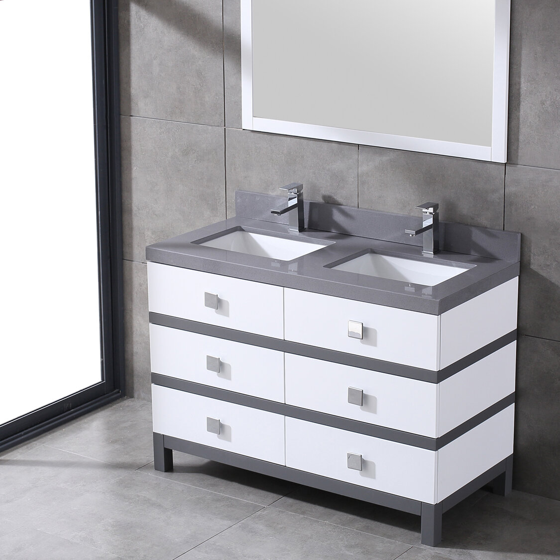 Eviva Sydney 60 Inch White And Grey Bathroom Vanity Wayfair