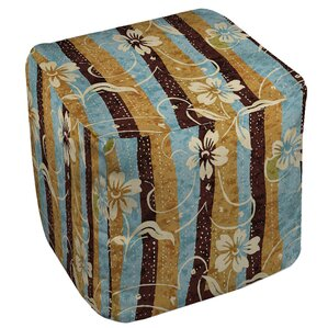 Floral Study in Stripes Ottoman by Manual Woodworkers & Weavers