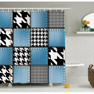 Farm House Digital Graphic with Denim Forms and Colored Minimalist Figures and Lines Print Shower Curtain Set