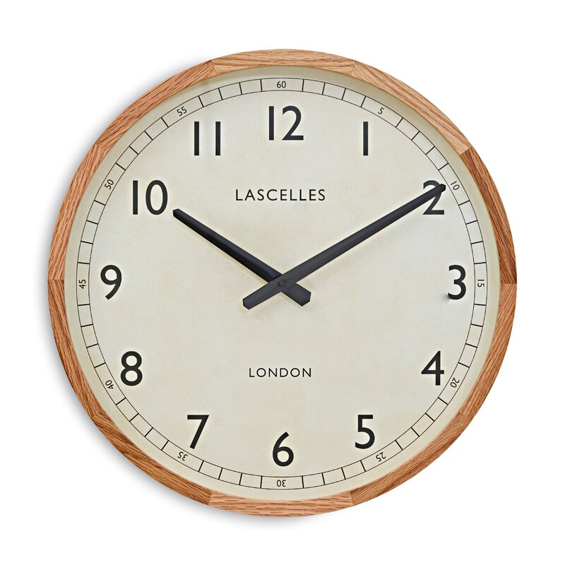 """Mccrary Genuine Wooden Oak Case 16.8"""" Wall Clock by Charlton Home"""