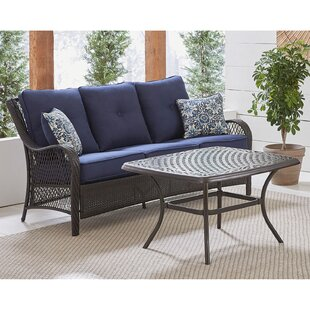 Insley 2 Piece Rattan Sofa Set with Cushion