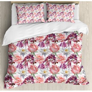 East Urban Home Watercolor Rose and Orchid Lily Flowers Motif Natural Elegance Petals Artwork Duvet Set