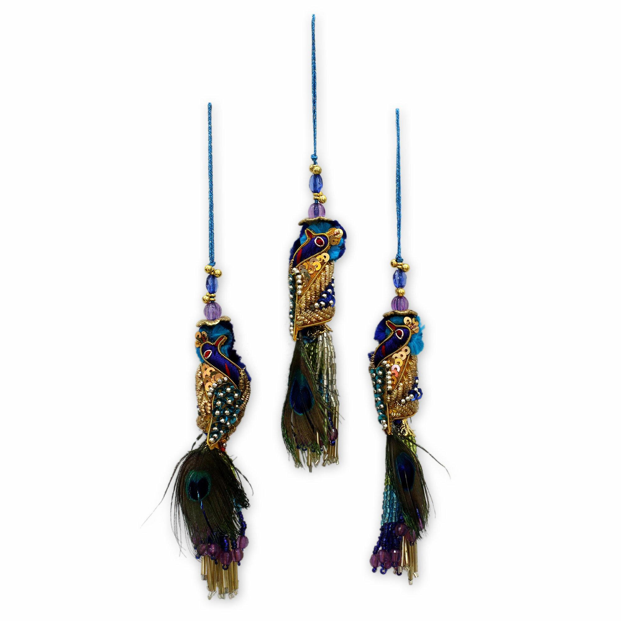 The Holiday Aisle Royal Peacock Beaded Hanging Figurine Ornament Set Of 3 Wayfair