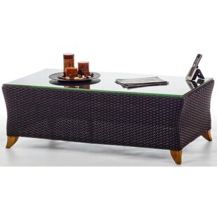 All Things Cedar Rattan Coffee Table with Glass Top