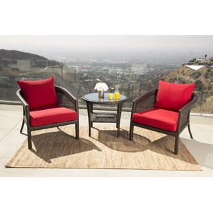 August Grove Fincham 3 Piece Sunbrella Conversation Set with Cushions