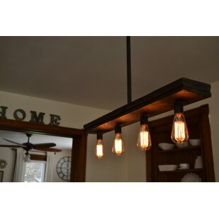 West Ninth Vintage Triple Wood 4-Light Kitchen Island Pendant
