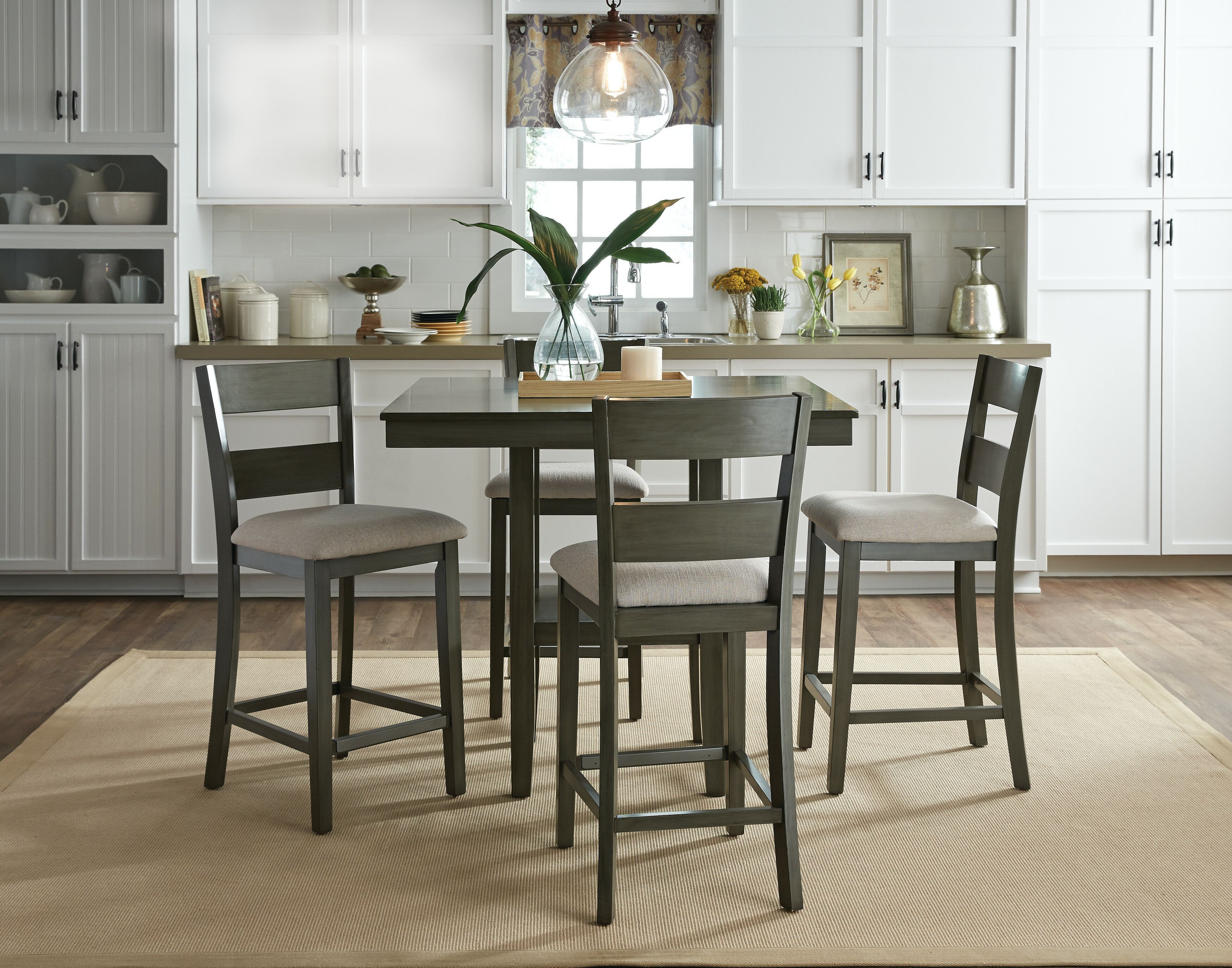 Square Gray Dining Table Interior Kitchen Contemporary