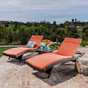 Brayden Studio Hans Cagliari 3 Piece Wicker Chaise Lounge Set with Cushion