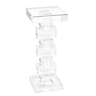 Pedestal Glass Top End Table By John-Richard