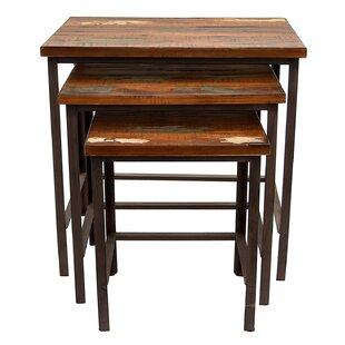Loon Peak Palma Wood and Metal 3 Piece Nesting Tables