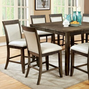 Gracie Oaks Calanthe Transitional Counter Height Solid Wood Dining Table
