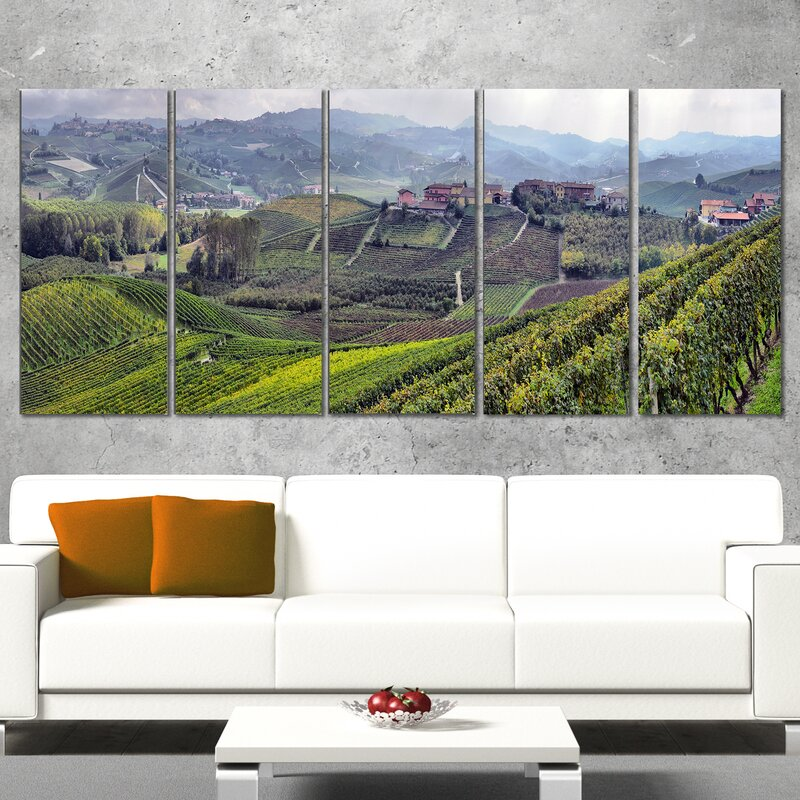 DesignArt Vineyards in Italy Panoramic 5 Piece Wall Art on Wrapped ...