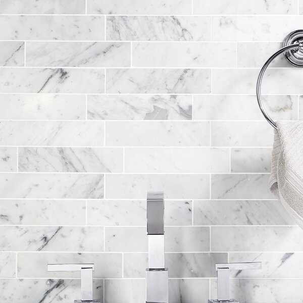 X 8 Marble Subway Tile In Gray