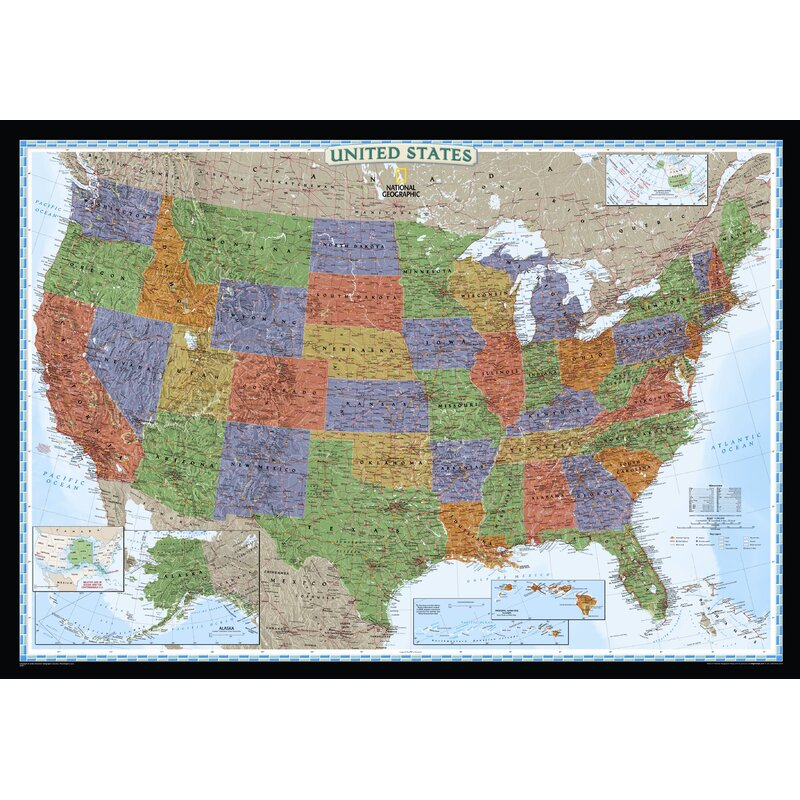 National Geographic Maps United States Decorator Wall Map
