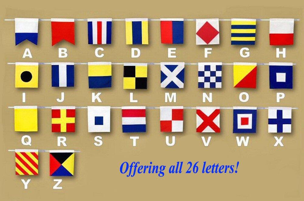 Letter Wooden Nautical Alphabet Flag Wall Décor & Reviews | Birch Lane