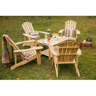 Loon Peak Riffle Solid Wood Adirondack Chair with Table
