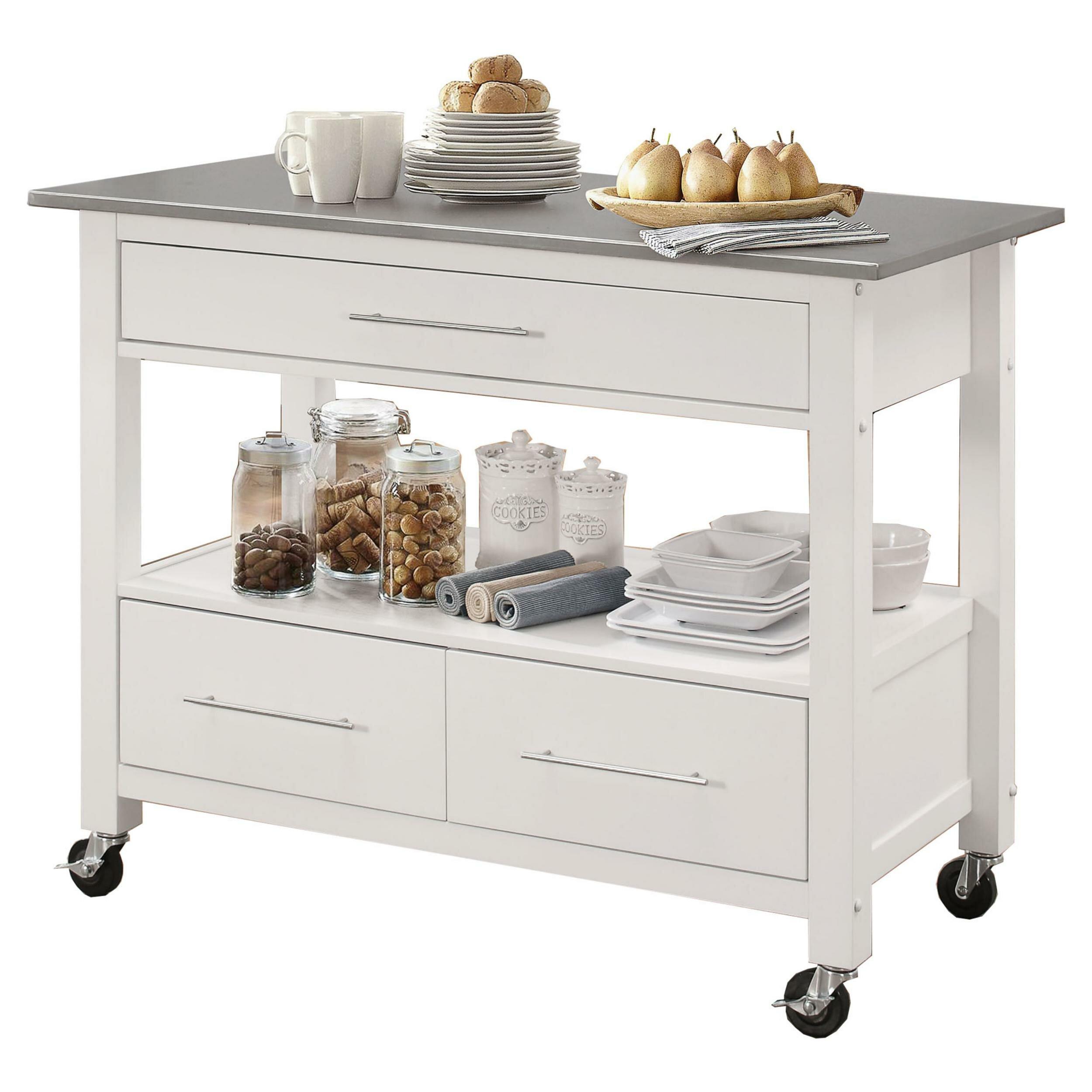 Alcott Hill Krumm Kitchen Cart With Stainless Steel Top Wayfair