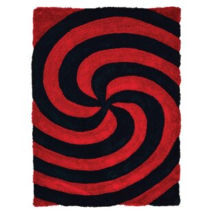 Check Prices Fitts Fiery Red/Jet Black Area Rug By Wrought Studio