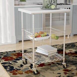 Earleville Kitchen Cart with Stainless Steel Top Rebrilliant