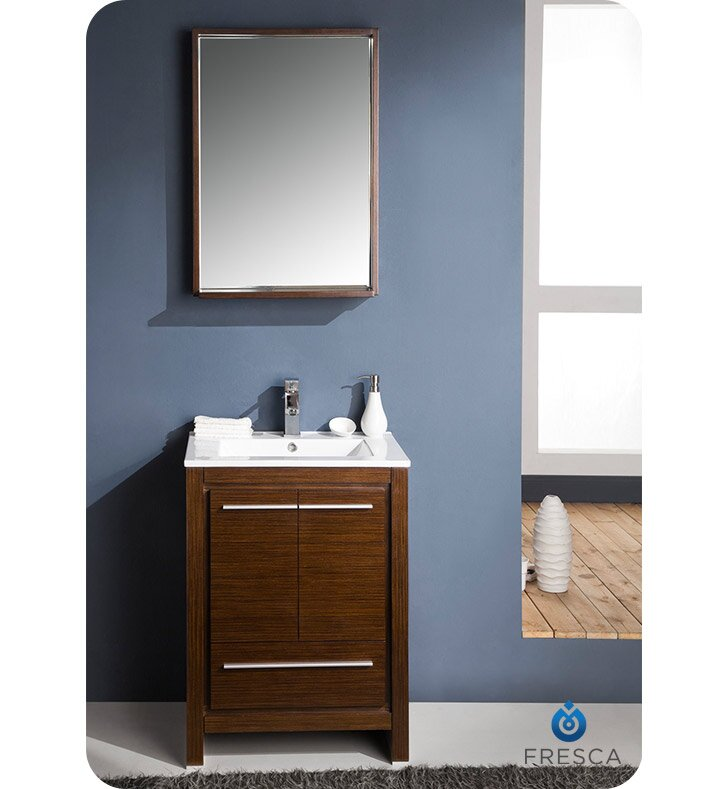 "24 Mirrored Bathroom Vanity fresca allier 24"" single bathroom vanity set with mirror & reviews"