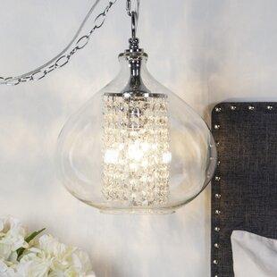 Pokorny Crystal Glass 1-Light Globe Pendant by Bungalow Rose