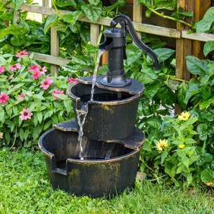 Backyard Expressions Resin 2-Tier Barrel Fountain