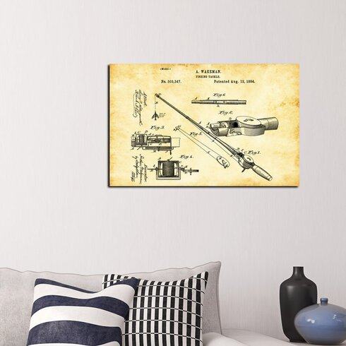 Epic graffiti fishing tackle vintage patent blueprint giclee graphic fishing tackle vintage patent blueprint giclee graphic art on canvas malvernweather Choice Image