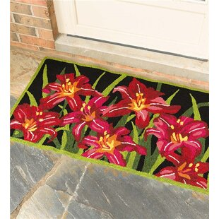 Tiger Lilies Black/Red/Green Indoor/Outdoor Area Rug