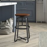 Irven Swivel Adjustable Height Solid Wood Bar Stool by Birch Lane™