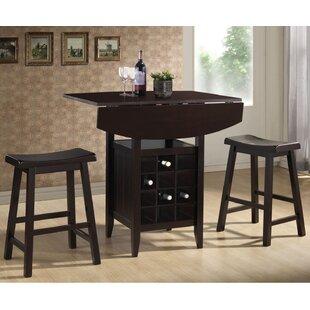Latitude Run Elida 3 Piece Adjustable Pub Table Set