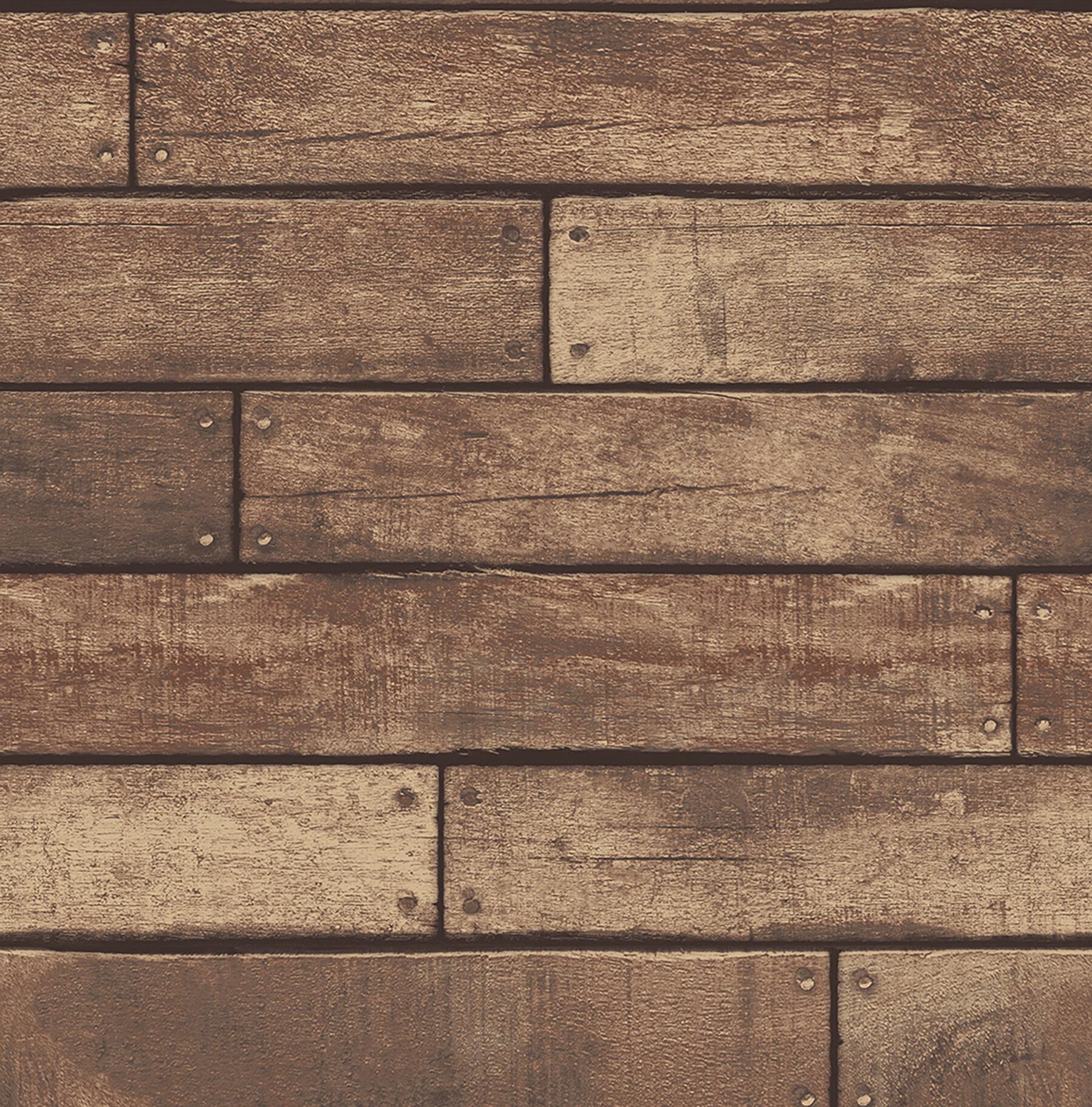 Essentials Weathered Nailhead Plank 33 X 20 5 Wood Wallpaper Roll