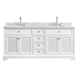 Tamara 72 Double White Bathroom Vanity Set By Wyndham Collection