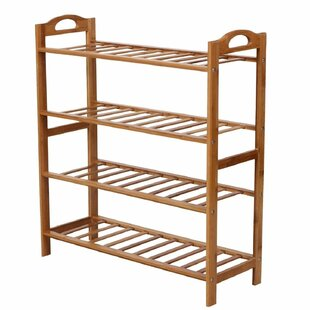 Natural Bamboo 4 Tier Shoe Rack By Rebrilliant
