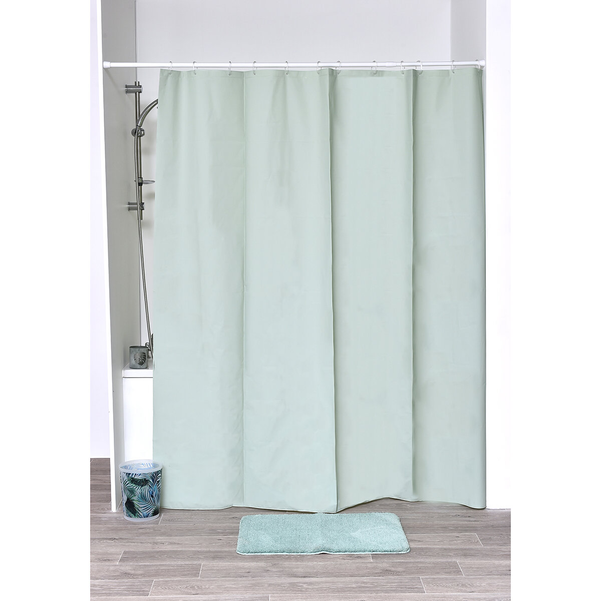 """Dobby Fabric Shower Curtain Gray and Green Chevron Tile  Design 72/"""" x 72/"""""""
