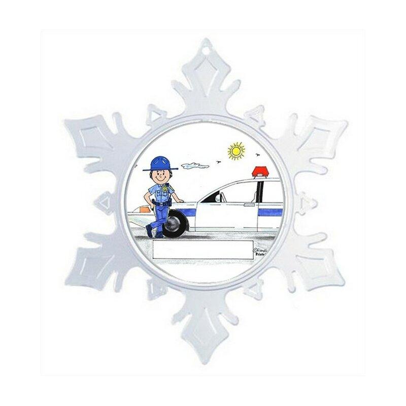 The Holiday Aisle Personalized Friendly Folks Cartoon Snowflake Sheriff Deputy State Police Christmas Holiday Shaped Ornament Wayfair