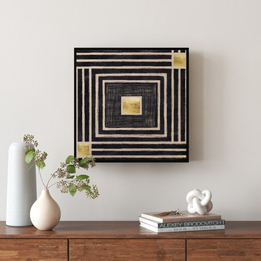 Golden Center by Ptm Images - Floater Frame Graphic Art Print on Canvas