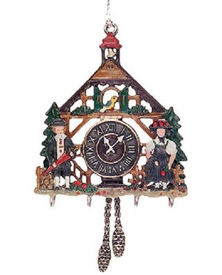3d cuckoo clock double sided german pewter christmas ornament