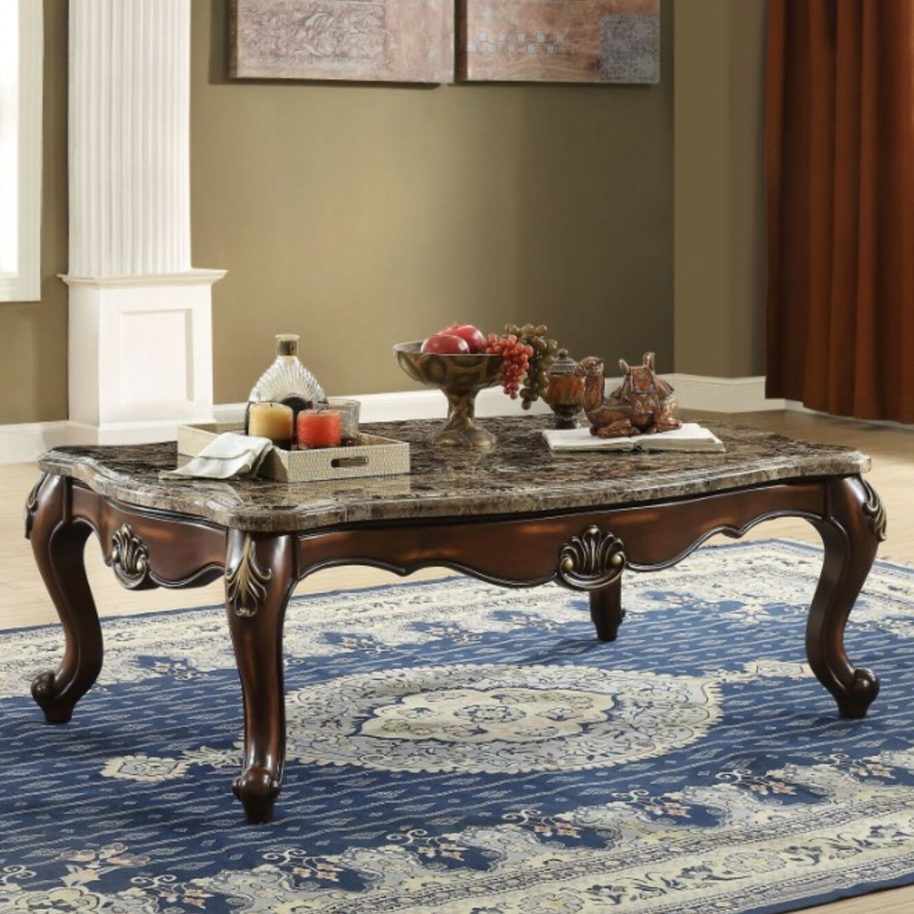 Prime Arminta Traditional Rectangular Wood And Marble Coffee Table Squirreltailoven Fun Painted Chair Ideas Images Squirreltailovenorg