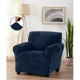 Velvet Plush Form Fit Stretch Box Cushion Armchair Slipcover