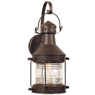 Oakhill Glass 1-Light Outdoor Wall Lantern by Charlton Home