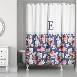 Arquette Floral Monogrammed Single Shower Curtain