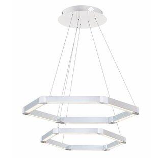 Duell Hexagon 6-Light LED Geometric Chandelier by Orren Ellis