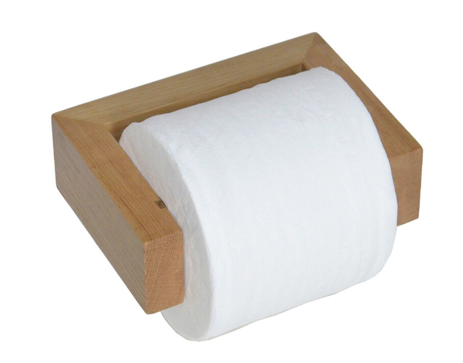 Wall Mounted Wooden Toilet Roll Holder