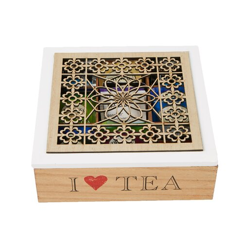 Premium Kitchen Heart Of the Home Multi Use Wooden 9 Compartment Tea Box