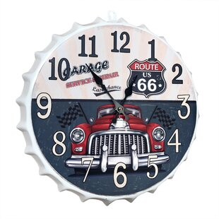 Contemporary Metal Cap Sign With Route 66 Garage And Car Wall Décor