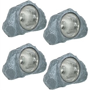 Etowah Solar-Powered Outdoor Rock Garden 1 Light Flood/Spot Light (Set of 4)