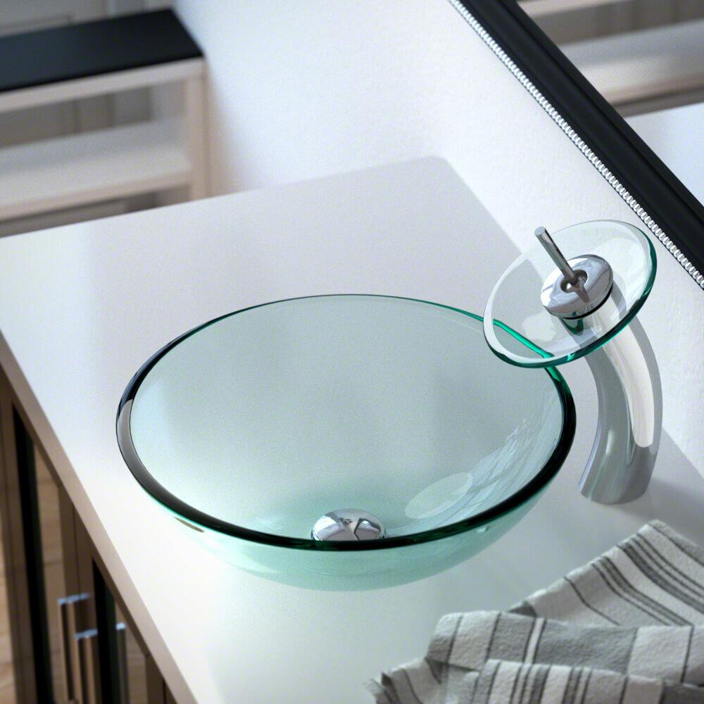 MRDirect Glass Circular Vessel Bathroom Sink with Faucet   Wayfair