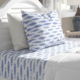 Woodblock Fish 200 Thread Count 100% Cotton Percale Sheet Set