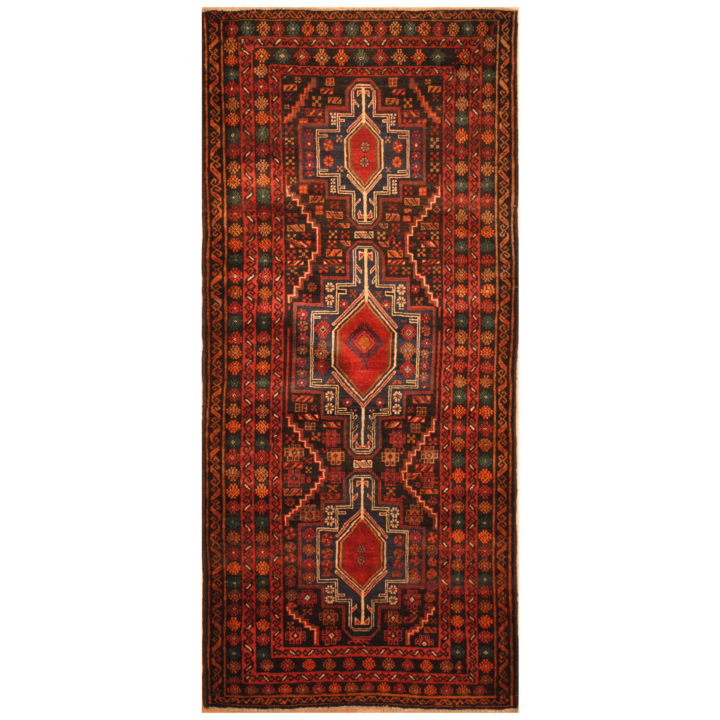Isabelline Prentice Hand Knotted Red Navy Area Rug Wayfair Ca